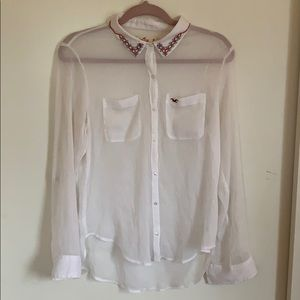 *Hollister* See-Through, Button-Up Blouse
